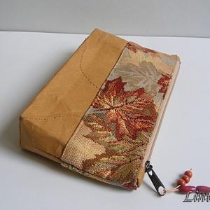 Neszesszer kraft papírból, őszi levelek, Táska & Tok, Neszesszer, Varrás, Meska