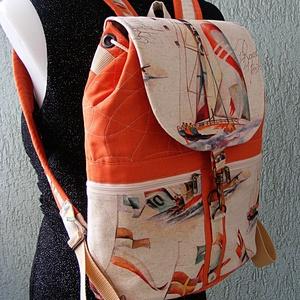 Textil hátizsák, vitorlás hajók, Táska & Tok, Hátizsák, Hátizsák, Varrás, Meska