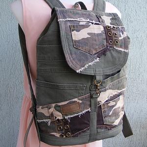 Terepszínű hátizsák, Táska & Tok, Hátizsák, Hátizsák, Patchwork, foltvarrás, Újrahasznosított alapanyagból készült termékek, Meska