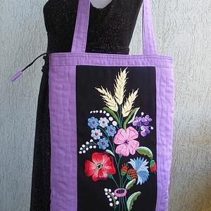 Textil táska hímzett virágokkal (Lintu) - Meska.hu