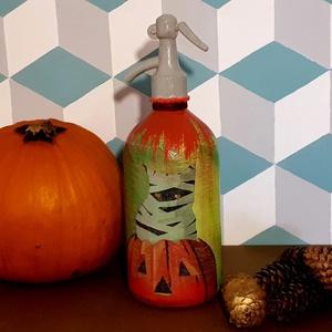 Festett retro szódásüveg Halloween dekoráció (4), Otthon & Lakás, Dekoráció, Dísztárgy, Decoupage, transzfer és szalvétatechnika, Crazy Cat \nDecoupage technikával dekorált, festett és lakkozott üveg, Halloween-ra dekorációnak.\n31 ..., Meska