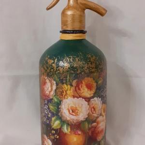 Festett Retro szódásüveg, virágos csendélet, Otthon & Lakás, Dekoráció, Dísztárgy, Decoupage technikával és festéssel dekorált szódásüveg. 31 cm magas, kb 2 kg , Meska