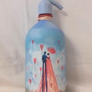 Festett Retro szódásüveg, grafika, Otthon & Lakás, Dekoráció, Dísztárgy, Decoupage technikával és festéssel dekorált szódásüveg. 31 cm magas, kb 2 kg , Meska