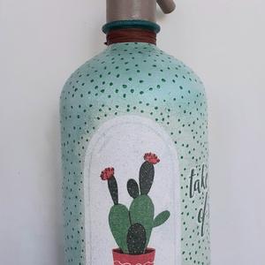 Festett Retro szódásüveg, Kaktusz, Otthon & Lakás, Dekoráció, Dísztárgy, Decoupage technikával és festéssel dekorált szódásüveg. 31 cm magas, kb 2 kg , Meska