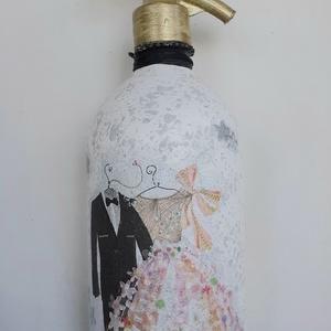 Festett Retro szódásüveg, Esküvő, Otthon & Lakás, Dekoráció, Dísztárgy, Decoupage technikával és festéssel dekorált szódásüveg. 31 cm magas, kb 2 kg , Meska