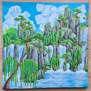 Kínai tájkép, Művészet, Festmény, Akril, Festészet, Akrilfestmény, 40x40 cm, feszített vászon. Keret nélkül, azonnal falra akasztható. Klasszikus kínai ..., Meska