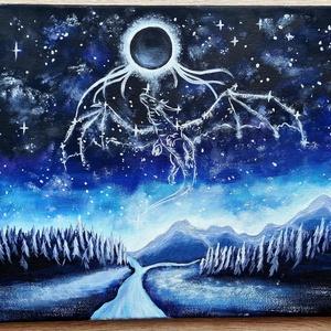 Sárkány csillagkép , Művészet, Festmény, Akril, Festészet, Akrilfestmény, 40x30 cm, feszített vászon. Keret nélkül, azonnal falra akasztható. Sárkánycsillagkép..., Meska