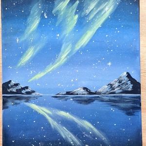 Aurora , Művészet, Festmény, Akril, Festészet, Akrilfestmény, 40x30 cm, feszített vászon. Keret nélkül, azonnal falra akasztható. Aurora Borealist ..., Meska