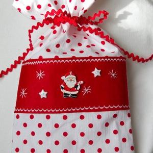 Mikulás vagy karácsonyi öko zsák pöttyös (littlecrochetforU) - Meska.hu