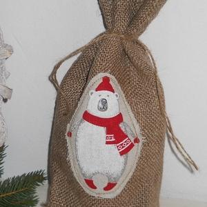 Többi minta-Karácsonyi öko zsák, ajándék zacskó, italtartó, mikulás zsák, Otthon & lakás, Dekoráció, Ünnepi dekoráció, Karácsony, Ajándékzsák, NoWaste, Bevásárló zsákok, zacskók , Varrás, jutavászonból készült ez az éveken át kihasználható zsákocska, mely ajándékcsomagolásra, italtartóké..., Meska