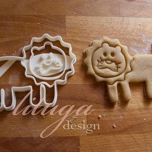 Oroszlán sütemény kiszúró forma - NAGY, Otthon & Lakás, Sütikiszúró, Konyhafelszerelés, Nagy oroszlánt formázó sütemény kiszúrót / szaggatót készítettünk, nagyon aranyos grafikával. Gyerme..., Meska
