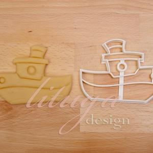 Hajó, gőzhajó süteménykiszúró - Járművek, Konyhafelszerelés, Otthon & lakás, Gyerek & játék, Húsvéti díszek, Ünnepi dekoráció, Dekoráció, Fotó, grafika, rajz, illusztráció, Mindenmás, Hajó, kishajó, gőzhajót formázó sütemény kiszúró / szaggató forma. \n\nGyermek szülinapi zsúrokra ideá..., Meska