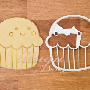 Muffin, cupcake formájú süteménykiszúró, keksz linzer kiszúró forma (2), Otthon & Lakás, Sütikiszúró, Konyhafelszerelés, Mosolygós kis muffint, cupcake-et formázó sütemény kiszúró / szaggató, keksz, linzer forma.  Arca, a..., Meska