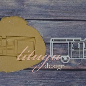 Tűzoltó autó sütemény linzer keksz kiszúró forma - Járművek, Sütikiszúró, Konyhafelszerelés, Otthon & Lakás, Fotó, grafika, rajz, illusztráció, Mindenmás, Járműves sorozatunk következő tagja: tűzoltó autót formázó sütemény kiszúró / szaggató forma. \n\nTűzc..., Meska