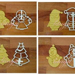 AKCIÓ 4db-os karácsonyi szett 1: Angyalka, Télapó, fenyőfa és Hóember sütemény mézeskalács linzer keksz kiszúró forma, Otthon & Lakás, Sütikiszúró, Konyhafelszerelés, Ezek a formák egyenként is kaphatóak boltunkban, de szerettük volna kedvezőbb áron kínálni azon vásá..., Meska