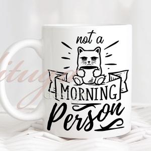 """Feliratos bögre \""""Not a morning person\"""", Konyhafelszerelés, Otthon & lakás, Bögre, csésze, Férfiaknak, Fotó, grafika, rajz, illusztráció, Mindenmás, \""""Not a morning person\"""", olyan emberekre mondják, akiknek nehezen indul a reggel. \n\nA grafika a bögre..., Meska"""