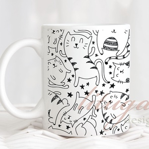 Cicás kerámia bögre, Ajándék ötlet cicakedvelőknek, Bögre macska mintával (CAT002), Otthon & Lakás, Bögre & Csésze, Konyhafelszerelés, Bögre cicamintával, fekete-fehér macskás bögre. Egyedi cicás bögre az igazán cicakedvelőknek.    A s..., Meska