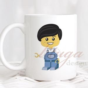 Bögre fiúknak (LEGO001) - Névreszólóan, egyedi felirattal kérhető, ajándék ovis ballagásra, Konyhafelszerelés, Ballagás, Baba-mama-gyerek, Bögre, csésze, Fotó, grafika, rajz, illusztráció, Mindenmás, Fehér kerámia bögre egyik oldalán egy lego figura grafikával, másik oldalára szívesen rátesszük lee..., Meska
