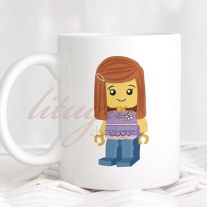 Bögre lányoknak (LEGO004) - Névreszólóan, egyedi felirattal kérhető, Konyhafelszerelés, Ballagás, Baba-mama-gyerek, Bögre, csésze, Fotó, grafika, rajz, illusztráció, Mindenmás, Fehér kerámia bögre egyik oldalán egy kislány lego figura grafikával, másik oldalára szívesen rátes..., Meska