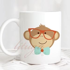 Bögre fiúknak, majmos bögre (MONKEY002) - Névreszólóan, egyedi felirattal is kérhető, Otthon & Lakás, Bögre & Csésze, Konyhafelszerelés, Fehér kerámia bögre egyik oldalán egy vagány, szemüveges-nyakkendős fiúmajom grafikával, másik oldal..., Meska