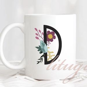 Monogramos, névreszóló bögre - hátulján névvel rendelhető (MNGR001), Bögre & Csésze, Konyhafelszerelés, Otthon & Lakás, Fotó, grafika, rajz, illusztráció, Mindenmás, Fehér kerámia bögre, melynek egyik oldalára virágos fekete betűt tettünk, hátuljára leendő gazdája /..., Meska