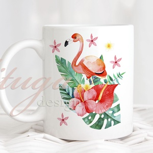 Flamingós bögre - Trópusi virágos bögre2, Otthon & Lakás, Bögre & Csésze, Konyhafelszerelés, Idén nyáron hódít a trópusi minta őrület, e stílusjegyben készült ez a fehér kerámia bögre, mindkét ..., Meska