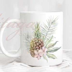Ananászos bögre - Trópusi bögre5, Ananász trópusi virágokkal, levelekkel, Konyhafelszerelés, Otthon & lakás, Bögre, csésze, Fotó, grafika, rajz, illusztráció, Mindenmás, Idén nyáron hódít a trópusi minta őrület, e stílusjegyben készült ez a fehér kerámia bögre mindkét o..., Meska