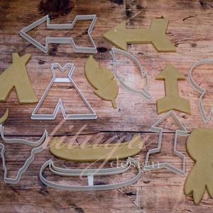 Indiános / törzsi süteménykiszúró szett, linzer, mézeskalács forma, keksz forma BOHÓ, Konyhafelszerelés, Otthon & lakás, Gyerek & játék, Mindenmás, Mézeskalácssütés, Törzsi / indiános témájú süteménykiszúró szett, mézeskalács szaggató formák (csak körvonal):\n\nA szet..., Meska