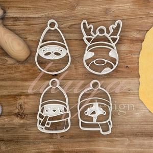 4db-os karácsonyi szett: Rénszarvas, Télapó, Pingvin és Hóember sütemény mézeskalács linzer keksz kiszúró forma, Otthon & Lakás, Sütikiszúró, Konyhafelszerelés, Ezzel az új négy darabos szettel várjuk a közelgő ünnepeket! Rénszarvas, Télapó, kis pingvin és hóem..., Meska