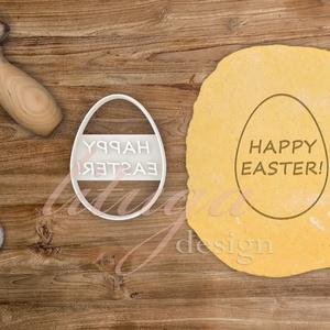 """Húsvéti süteménykiszúró forma  - Tojás alakban """"Happy """"Easter!"""" felirat, Otthon & Lakás, Sütikiszúró, Konyhafelszerelés, A közelgő Húsvétra készült tojásformájú sütemény kiszúró / szaggató, melynek közepébe a """"Happy Easte..., Meska"""