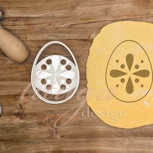 Húsvéti süteménykiszúró forma  - Tojás alakú dekoratív mintával, Otthon & Lakás, Sütikiszúró, Konyhafelszerelés, Húsvétra készült tojásformájú sütemény kiszúró / szaggató, melynek közepébe non-figuratív, dekoratív..., Meska