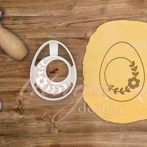 Húsvéti süteménykiszúró forma  - Tojás alakban virágmintával, Otthon & Lakás, Sütikiszúró, Konyhafelszerelés, Húsvétra készült tojásformájú sütemény kiszúró / szaggató, melynek közepébe egy szép kis köralakú vi..., Meska
