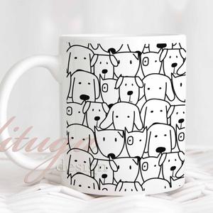 Kutyás kerámia bögre, Ajándék ötlet kutya kedvelőknek, Bögre kutya-, kutyusmintával (DOG003), Konyhafelszerelés, Otthon & lakás, Bögre, csésze, Fotó, grafika, rajz, illusztráció, Mindenmás, Bögre kutyamintával, fekete-fehér kutyás bögre. Egyedi kutyusos bögre az igazán ebkedvelőknek. \n\n\nA ..., Meska