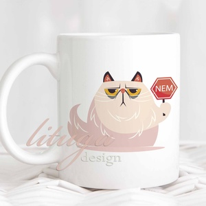 """Vicces morcos macskás bögre - Névre szólóan is kérhető (CAT05), Konyhafelszerelés, Otthon & lakás, Bögre, csésze, Férfiaknak, Fotó, grafika, rajz, illusztráció, Mindenmás, Vicces morcos macskás bögre - Névre szólóan is kérhető (CAT05) A képen \""""Mami\"""" felirattal, de ennek h..., Meska"""