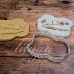 Dinoszaurusz koponya süteménykiszúró forma - Dínó koponya süti forma, dínó koponya linzer, keksz forma (2.), Sütikiszúró, Konyhafelszerelés, Otthon & Lakás, Mindenmás, Mézeskalácssütés, Dínós sorozatunk következő tagja: \n dinoszaurusz koponyát formázó sütemény kiszúrót / szaggatót kész..., Meska
