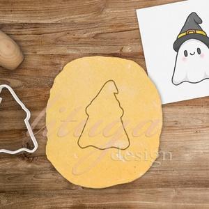 Szellem kalapban (csak körvonal!) - Halloween süti, sütemény szellem, cuki szellem linzer keksz kiszúró forma, Otthon & Lakás, Sütikiszúró, Konyhafelszerelés, A közelgő Halloween alkalmából készítettük ezt az aranyos szellem kalapban sütemény linzer keksz kis..., Meska
