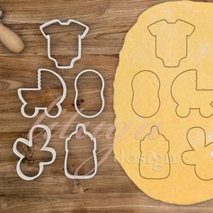 5db-os szett - Babaváró egyedi sütemény kiszúró forma szett, Sütikiszúró, Konyhafelszerelés, Otthon & Lakás, Fotó, grafika, rajz, illusztráció, Mindenmás, Különleges, egyedi babaváró süteménykiszúró formák. Kétféle verzióban kaphatóak:\n1. belső mintával\n2..., Meska