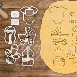 5db-os szett - Babaváró egyedi sütemény kiszúró forma szett, Otthon & Lakás, Sütikiszúró, Konyhafelszerelés, Különleges, egyedi babaváró süteménykiszúró formák. Kétféle verzióban/típus kapható: 1. belső mintáv..., Meska
