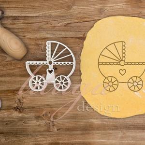 Babakocsi -  Babaváró egyedi sütemény kiszúró forma, Otthon & Lakás, Sütikiszúró, Konyhafelszerelés, Különleges, egyedi babaváró, kisbaba érkezését ünneplő, jelképező sütemény kiszúró, kekszkiszúró for..., Meska