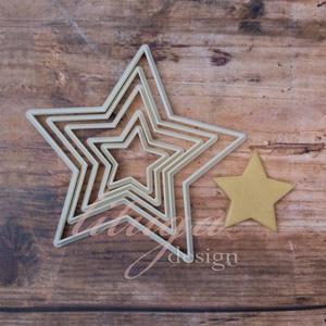 5 db csillag kekszkiszúró, mézeskalács szaggató, süteménykiszúró, linzer forma - Csillagok szettben, Sütikiszúró, Konyhafelszerelés, Otthon & Lakás, Mindenmás, Mézeskalácssütés, Ötdarabos szett: ötágú csillag süteménykiszúró, mézeskalács szaggató formák. Az ár az 5 darabra vona..., Meska