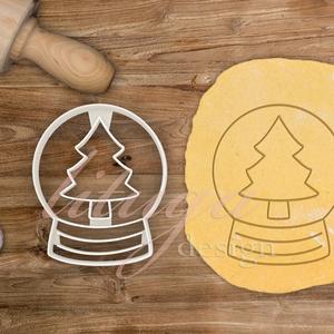 Hógömb kekszkiszúró fenyőfával,  karácsonyfás hógömb sütemény linzer keksz kiszúró forma - hógömb mézeskalács, Sütikiszúró, Konyhafelszerelés, Otthon & Lakás, Fotó, grafika, rajz, illusztráció, Mézeskalácssütés, Hógömb kekszkiszúró fenyőfával,  karácsonyfás hógömb süteménykiszúró forma - hógömb mézeskalács form..., Meska