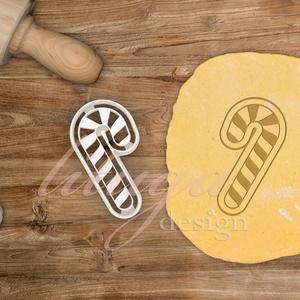 """""""Candy cane"""" cukorka sütemény linzer keksz kiszúró forma - karácsonyi, mézeskalács, Otthon & Lakás, Sütikiszúró, Konyhafelszerelés, Cukorka (cukornyalóka) alakú süteménykiszúró forma  Kb. 5 széles (legszélesebb pontján) cm x 8 cm ma..., Meska"""