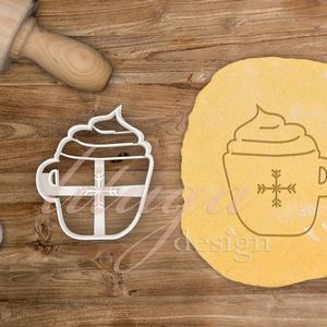 Bögre, téli bögre sütemény linzer keksz kiszúró forma - karácsony mézeskalács, Sütikiszúró, Konyhafelszerelés, Otthon & Lakás, Fotó, grafika, rajz, illusztráció, Mindenmás, Bögre sütemény keksz linzer mézeskalács forma hópehely mintával \n\nA közelgő télre és téli ünnepekre ..., Meska