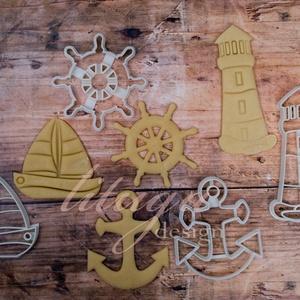 Tengerimádó szett kekszkiszúró, süteménykiszúró, linzer vagy mézeskalács forma, Otthon & Lakás, Sütikiszúró, Konyhafelszerelés, 4 db tengeri témájú kekszkiszúró egy szettben: 1. Világítótorony kekszkiszúró, süteménykiszúró, méze..., Meska