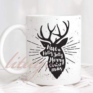 Karácsonyi szarvasos bögre - Fekete-fehér rusztikus bögre, Otthon & lakás, Konyhafelszerelés, Bögre, csésze, Férfiaknak, Fotó, grafika, rajz, illusztráció, Mindenmás, Karácsonyi elegáns, rusztikus bögre, fekete-fehér szarvasfejjel \n\nA vízjel természetesen nem kerül r..., Meska