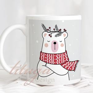 Karácsonyi jegesmedvés bögre - Szürke-fehér-piros bögre, Otthon & lakás, Konyhafelszerelés, Bögre, csésze, Férfiaknak, Fotó, grafika, rajz, illusztráció, Mindenmás, Karácsonyi bögre jegesmackóval. Kérhető a szürke pöttyös háttér nélkül is (második kép), ha egyszerű..., Meska