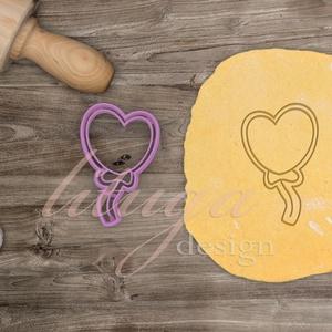 Szívlufi  süteménykiszúró - Szerelem, szeretet, egyedi esküvői kekszkiszúró süteménykiszúró Valentin napra, Esküvő, Otthon & lakás, Konyhafelszerelés, Dekoráció, Ünnepi dekoráció, Szerelmeseknek, Fotó, grafika, rajz, illusztráció, Mindenmás, Szívlufi kekszkiszúró, szív alakú lufit formázó sütikiszúrót készítettünk, a szeretet, szerelem jegy..., Meska