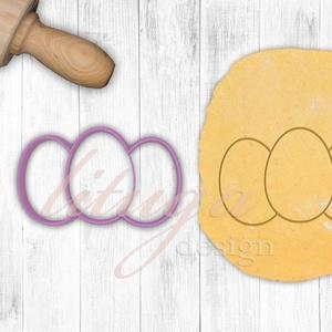 Tojás trió süteménykiszúró,  Húsvéti tojás sütemény linzer keksz kiszúró forma, Otthon & Lakás, Konyhafelszerelés, Sütikiszúró, Mindenmás, Mézeskalácssütés, A közelgő Húsvétra készültünk ezzel a hármas tojás kiszúróval.  Kérhető csak körvonal vagy belső min..., Meska