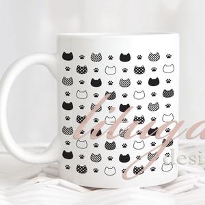 Cicás bögre, Ajándék ötlet cicakedvelőknek, Bögre macska mintával (CAT008) - Fekete-fehér cicafej és tappancsmintás, Otthon & lakás, Konyhafelszerelés, Dekoráció, Ünnepi dekoráció, Anyák napja, Bögre, csésze, Fotó, grafika, rajz, illusztráció, Mindenmás, Bögre cicamintával, fekete-fehér macskás bögre. Egyedi cicás bögre az igazán cicakedvelőknek. A graf..., Meska