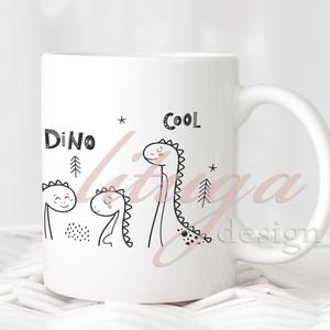Dínós bögre (2.) - Fekete-fehér dinoszauruszos bögre (DINO02), Otthon & lakás, Konyhafelszerelés, Bögre, csésze, Gyerek & játék, Fotó, grafika, rajz, illusztráció, Mindenmás, Aranyos (bébi) dínós bögre a nagy dinoszauruszok kis kedvelőinek :)  Fekete-fehér letisztult design,..., Meska
